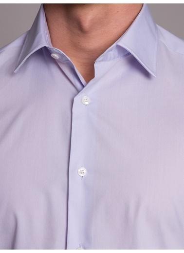 Dufy Açık Grı Ipeksı Klasık Erkek Gömlek - Slım Fıt Lila